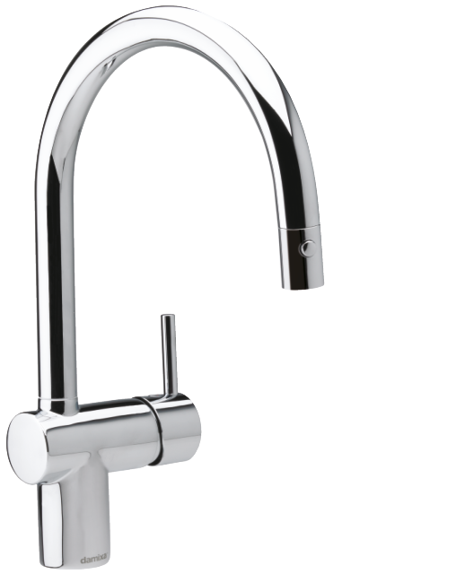 Danish designed one-grip Osier kitchen tap in chrome