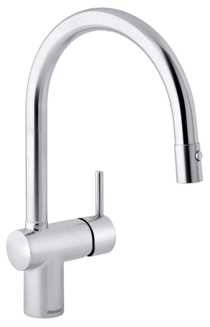 Classic danish designed one-grip kitchen mixer, the Osier tap comes in the surface steel